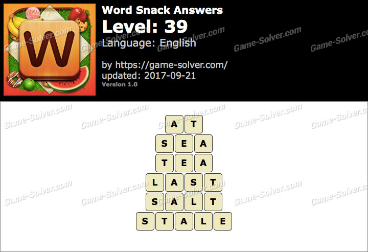 Word Snack Level 39 Answers