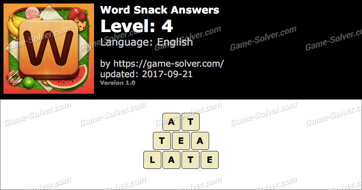 Word Snack Level 4 Answers