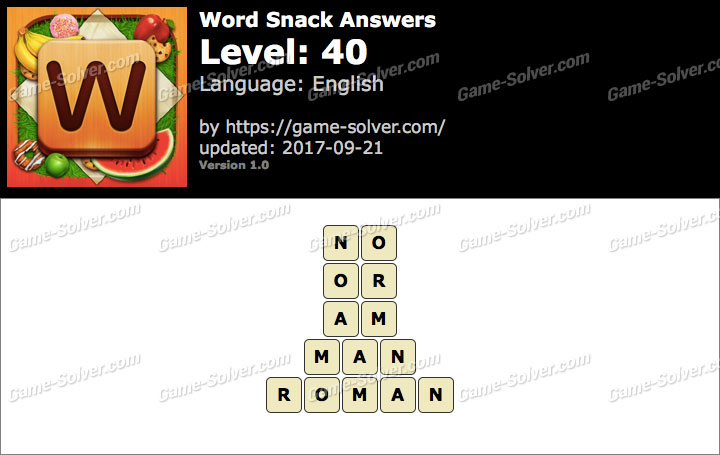 Word Snack Level 40 Answers