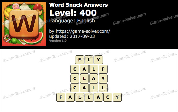 Word Snack Level 400 Answers