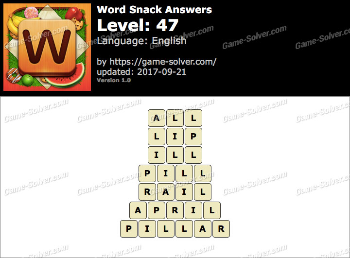 Word Snack Level 47 Answers