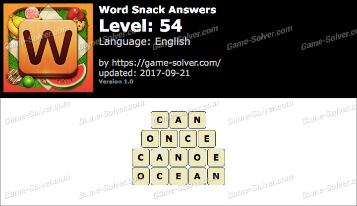 Word Snack Level 54 Answers