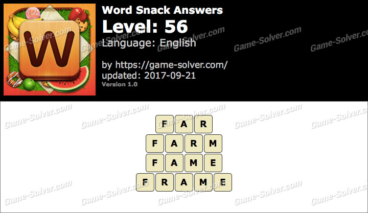 Word Snack Level 56 Answers