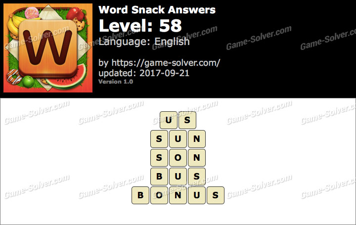 Word Snack Level 58 Answers