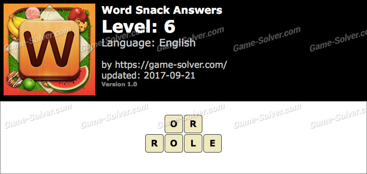 Word Snack Level 6 Answers