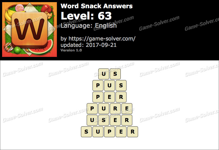 Word Snack Level 63 Answers