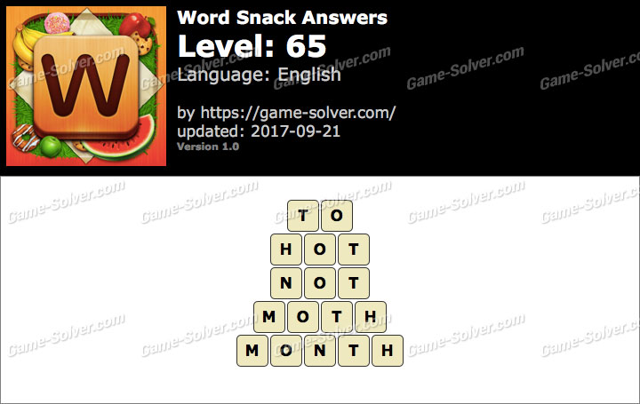 Word Snack Level 65 Answers
