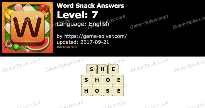 Word Snack Level 7 Answers