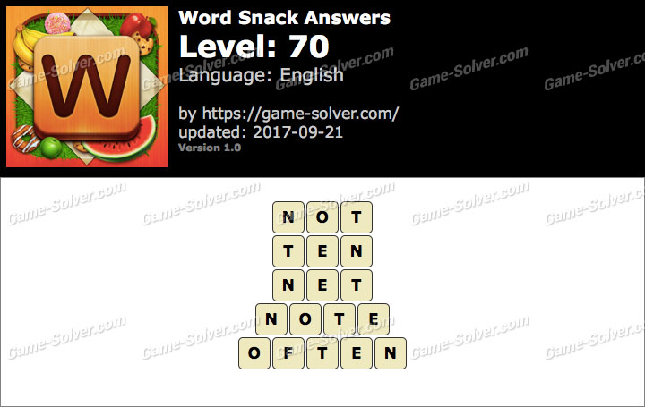 Word Snack Level 70 Answers