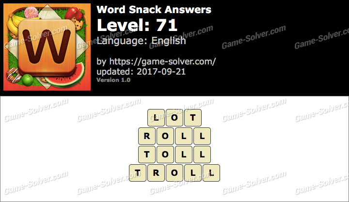 Word Snack Level 71 Answers