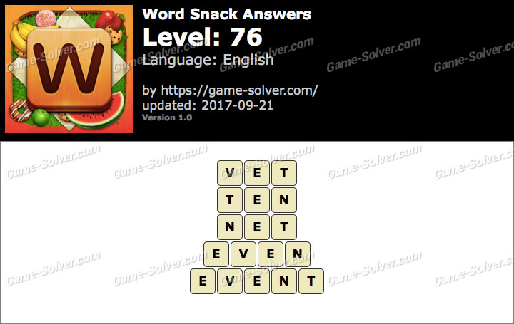 Word Snack Level 76 Answers