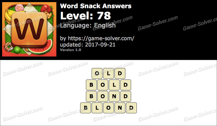 Word Snack Level 78 Answers