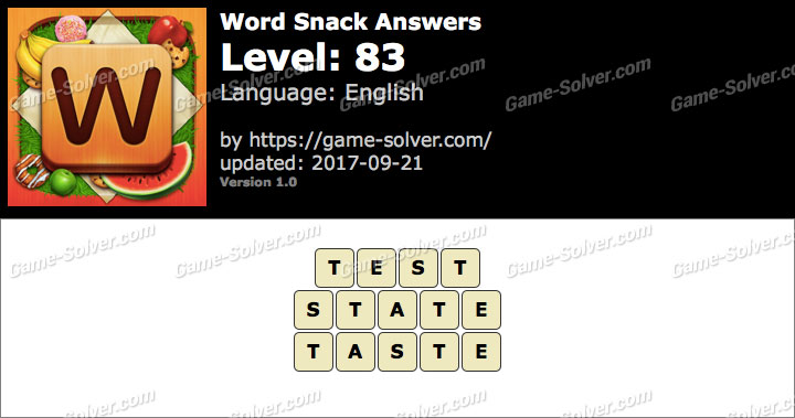 Word Snack Level 83 Answers