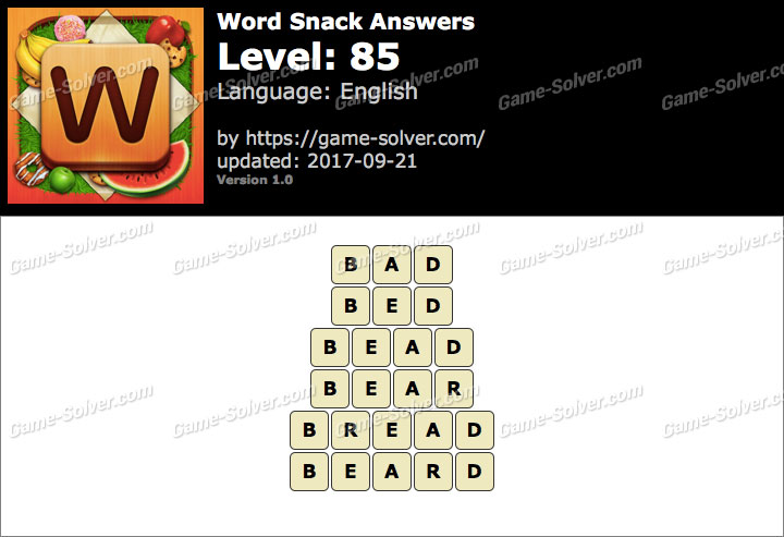 Word Snack Level 85 Answers