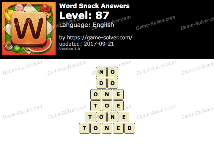 Word Snack Level 87 Answers