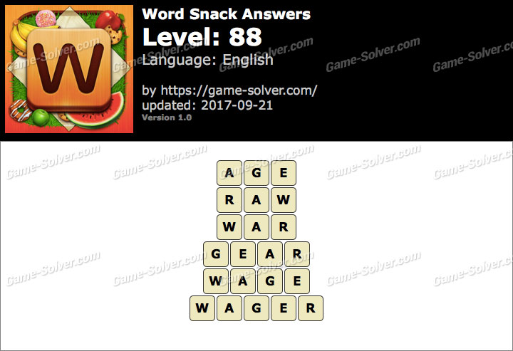 Word Snack Level 88 Answers