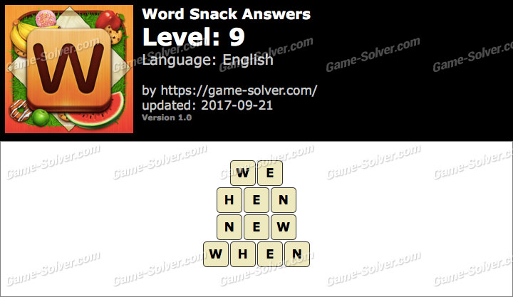 Word Snack Level 9 Answers