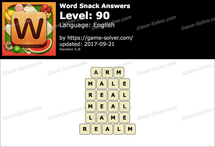 Word Snack Level 90 Answers