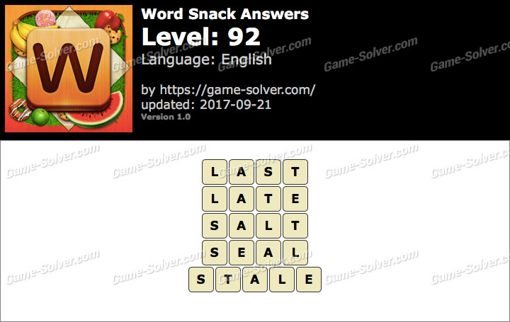 Word Snack Level 92 Answers