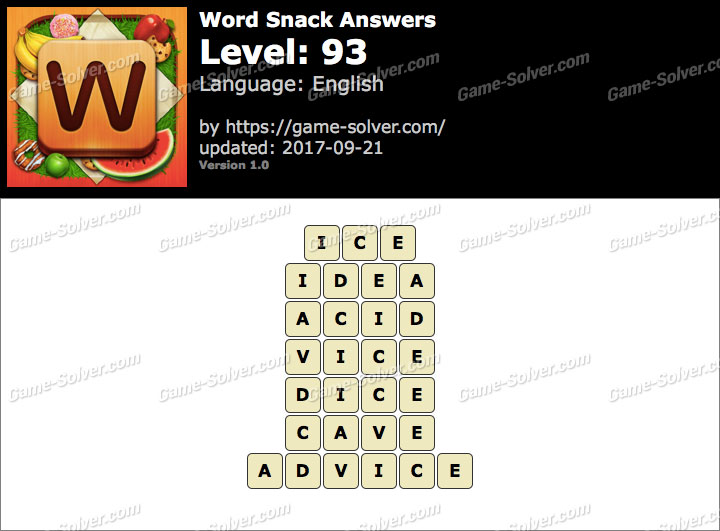 Word Snack Level 93 Answers