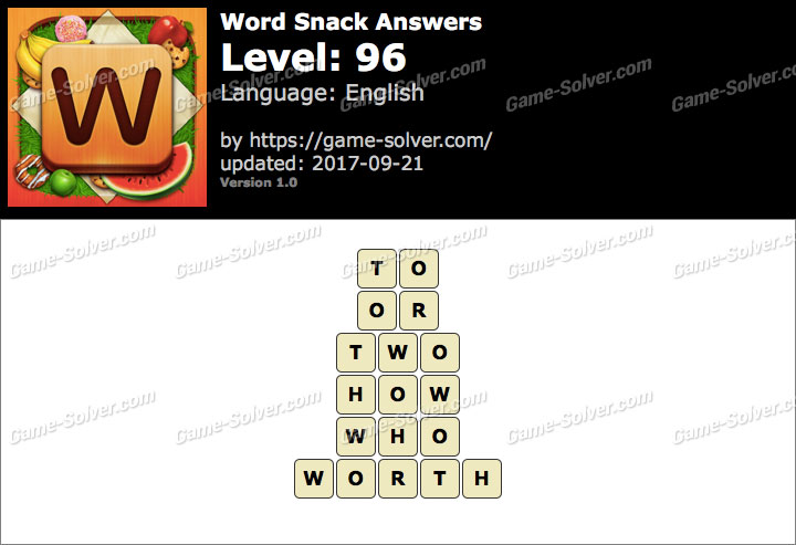Word Snack Level 96 Answers