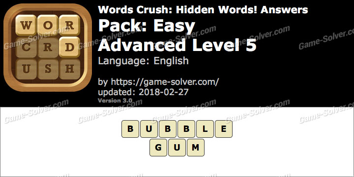 Words Crush Easy-Advanced Level 5 Answers