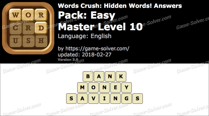 Words Crush Easy-Master Level 10 Answers