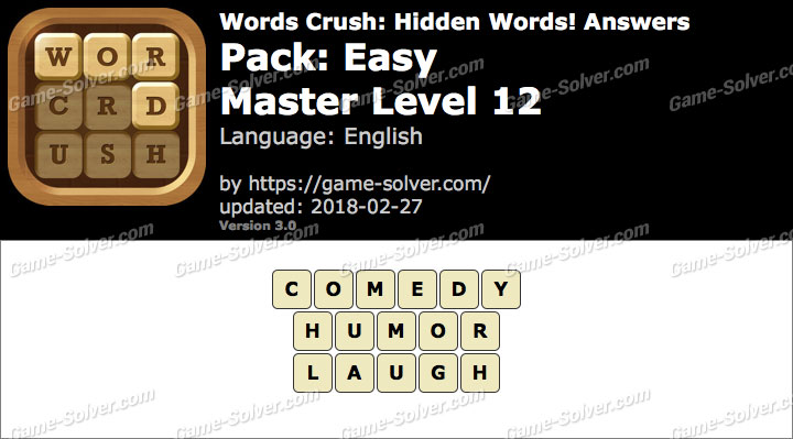 Words Crush Easy-Master Level 12 Answers