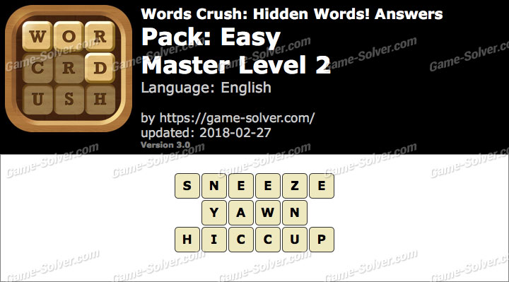 Words Crush Easy-Master Level 2 Answers