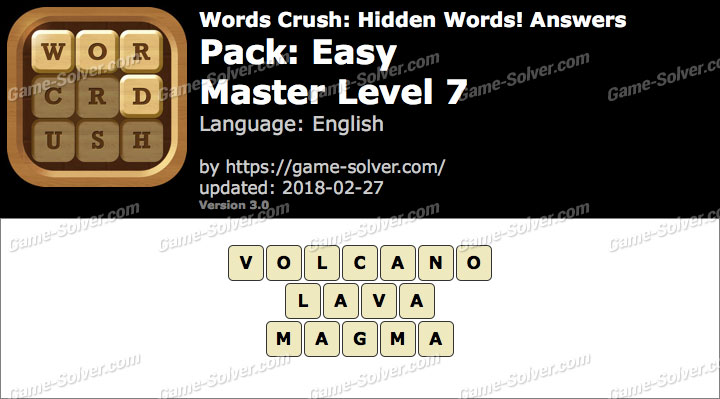 Words Crush Easy-Master Level 7 Answers