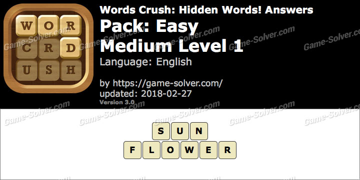 Words Crush Easy-Medium Level 1 Answers