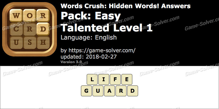 Words Crush Easy-Talented Level 1 Answers