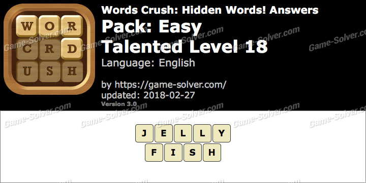Words Crush Easy-Talented Level 18 Answers