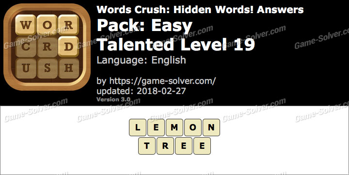 Words Crush Easy-Talented Level 19 Answers