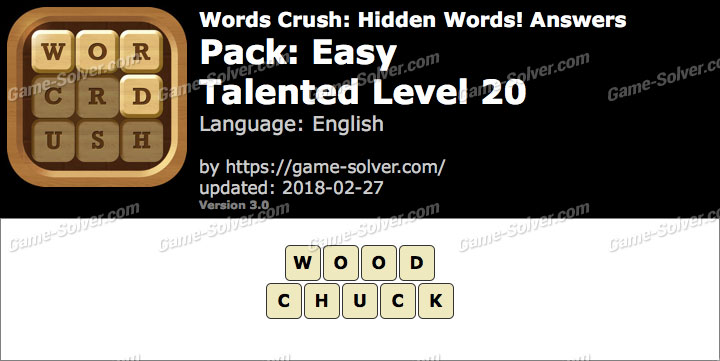 Words Crush Easy-Talented Level 20 Answers