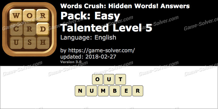Words Crush Easy-Talented Level 5 Answers