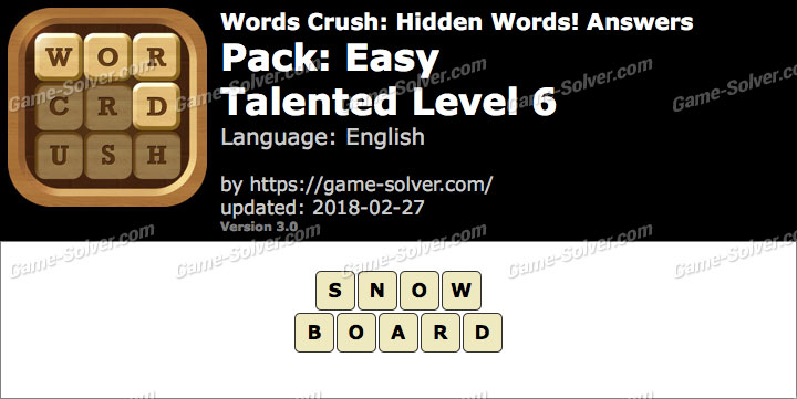 Words Crush Easy-Talented Level 6 Answers