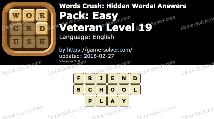Words Crush Easy-Veteran Level 19 Answers