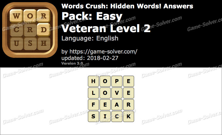 Words Crush Easy-Veteran Level 2 Answers