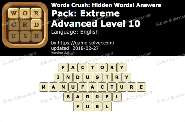 Words Crush Extreme-Advanced Level 10 Answers