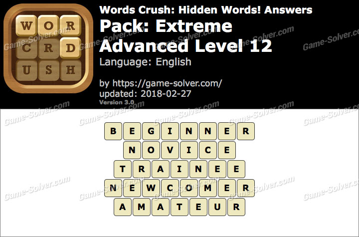 Words Crush Extreme-Advanced Level 12 Answers