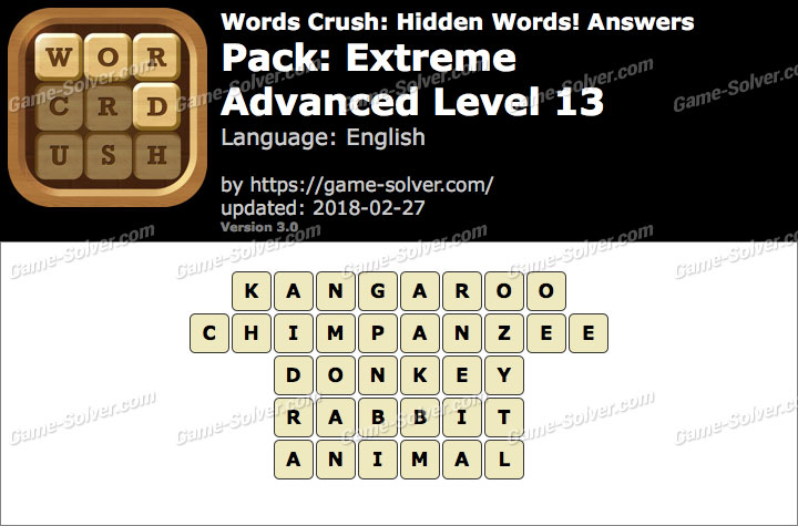 Words Crush Extreme-Advanced Level 13 Answers