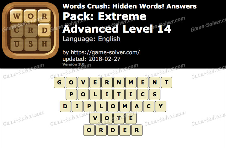Words Crush Extreme-Advanced Level 14 Answers