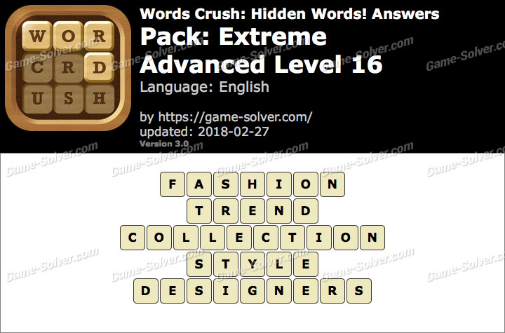 Words Crush Extreme-Advanced Level 16 Answers