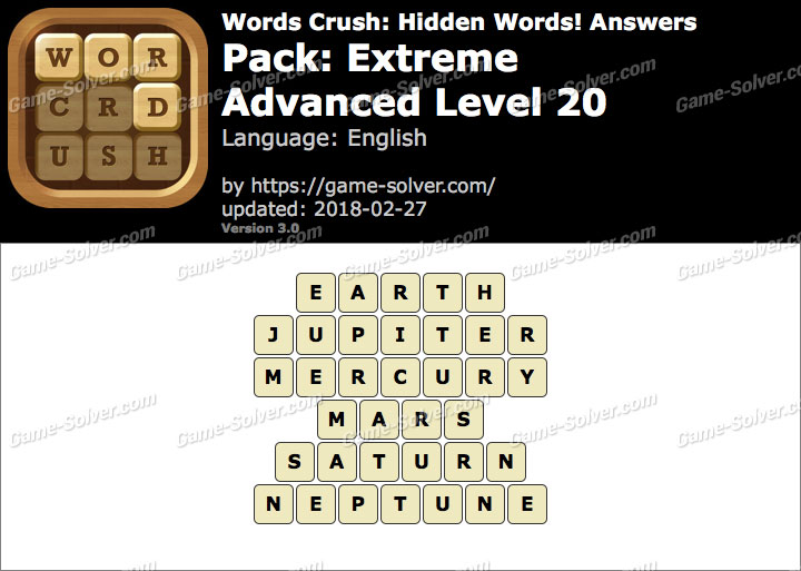 Words Crush Extreme-Advanced Level 20 Answers