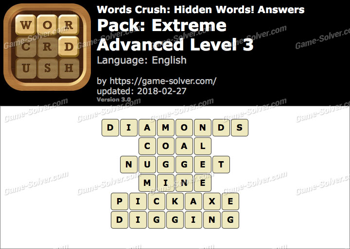 Words Crush Extreme-Advanced Level 3 Answers