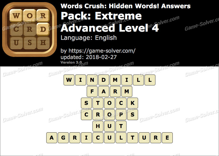 Words Crush Extreme-Advanced Level 4 Answers