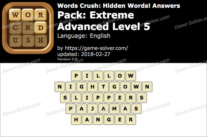 Words Crush Extreme-Advanced Level 5 Answers