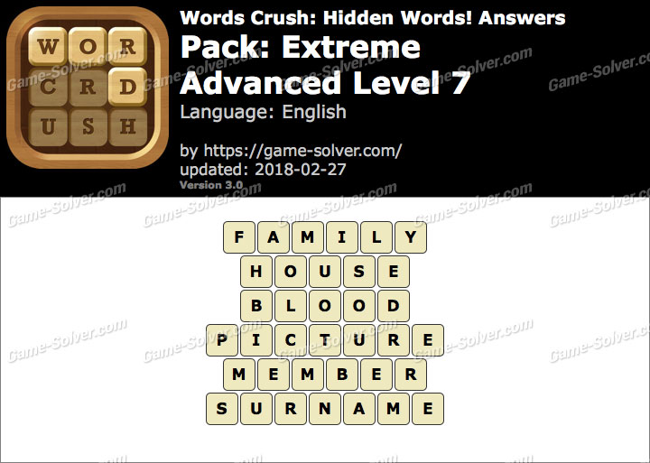 Words Crush Extreme-Advanced Level 7 Answers