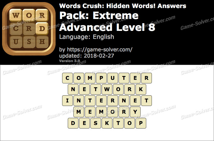 Words Crush Extreme-Advanced Level 8 Answers